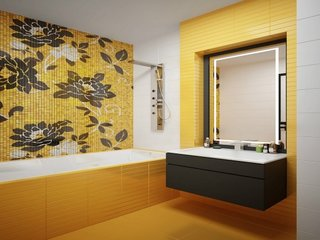 Galben si negru pentru amenajare baie