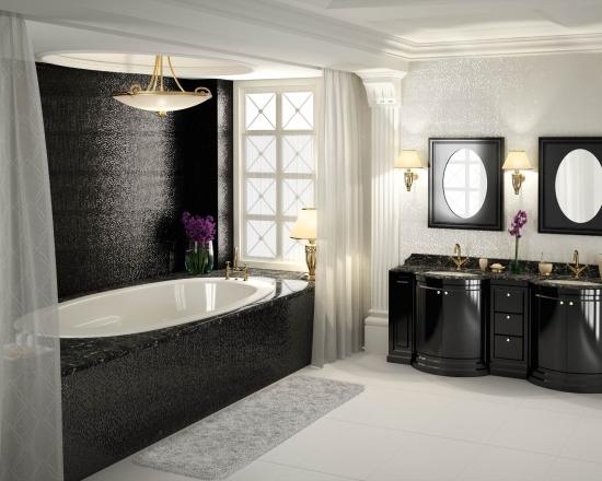 Negru si alb pentru o baie moderna