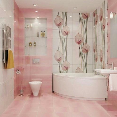 Placi ceramice de culoare roz pal pentru baie