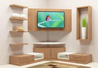 Biblioteca cu loc de TV pe colt