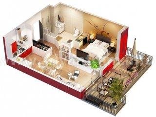 Apartament studio amenajat cu living si dormitor