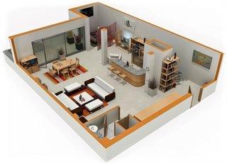 Apartament studio open space de 40 mp