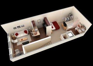 Garsoniera open space cu zone delimitate prin piese de mobilier