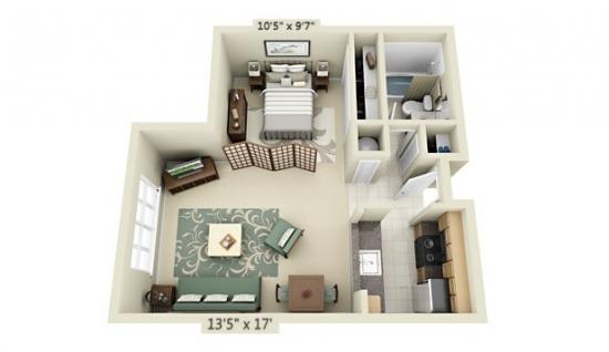 Idei delimitare dormitor de living in garsoniera cu forma neregulata