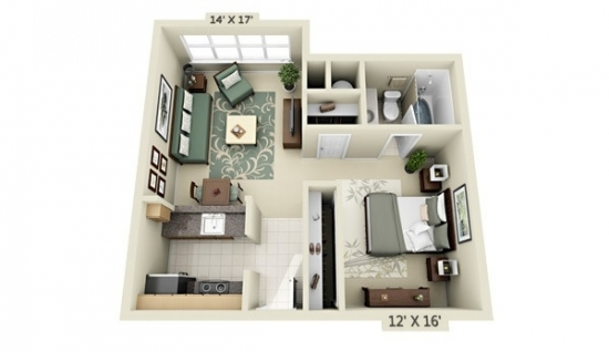 Plan Schita Apartament Studio Mic Open Space