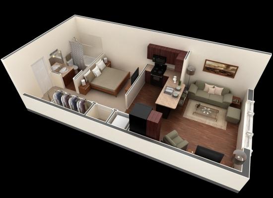 solutie partitionare apartament cu 1 camera