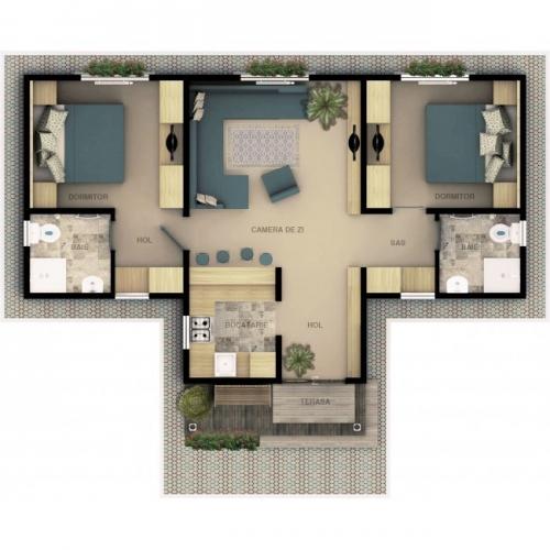 Case ieftine prefabricate doua camere plan