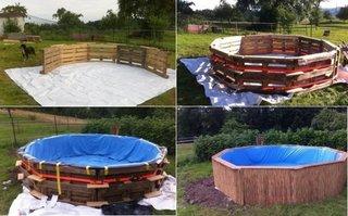 Amenajare piscina din paleti din lemn