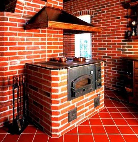 Soba cu plita si cuptor pentru bucatarie rustica