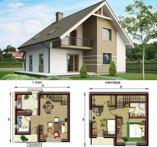 Plan casa cu mansarda