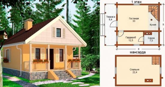Plan casa mica cu mansarda