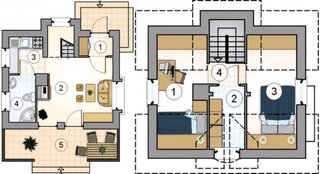 Plan casa mica cu etaj