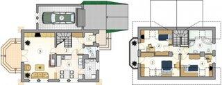 Plan parter si mansarda casa cu parter si etaj