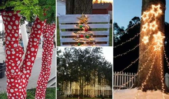 Idei decorare copaci in gradina cu ornamente de Craciun
