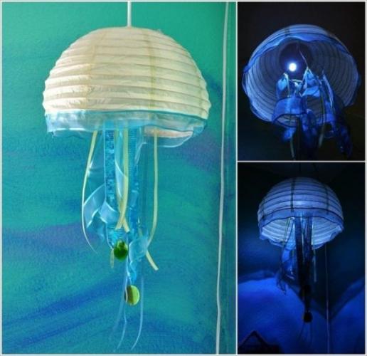 Lampa din hartie in forma de meduza
