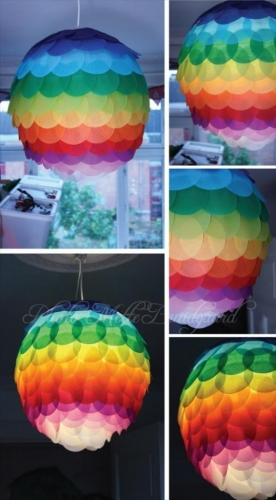 Lampa din hartie multicolora