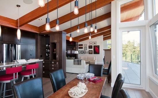 open space modern cu lustre in stil industrial. Black Bedroom Furniture Sets. Home Design Ideas