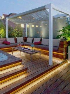 Idee iluminat exterior terasa tip decking