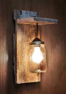 Aplica din lemn si abajur din borcan