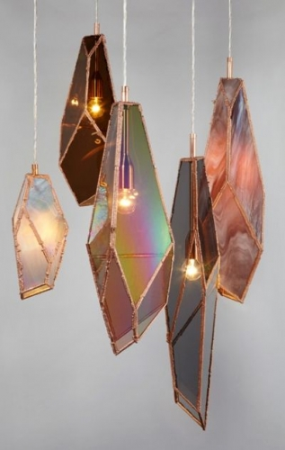 Lustre moderne handmade din bucati de sticla colorata lipita mozaic