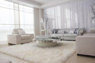 Covor latos alb pentru sufragerie