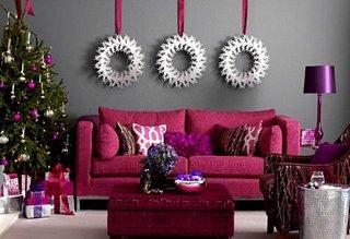 Gri si purpuriu, culori moderne pentru decoratiunile de Craciun