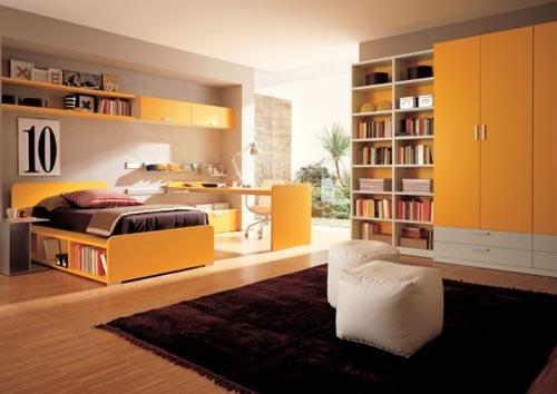 Camera pentru adolescenti cu mobila de dormitor galbena
