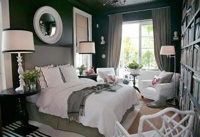 Dormitor negru cu alb si gri deschis