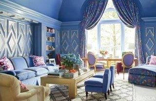 Living clasic bleu cu auriu