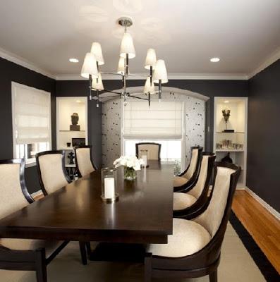 Living elegant negru cu scaune albe