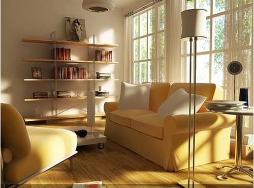 living mic de apartament cu canapea cu dou locuri galbena pai
