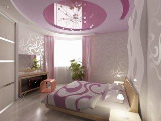 Dormitor alb cu accente lila