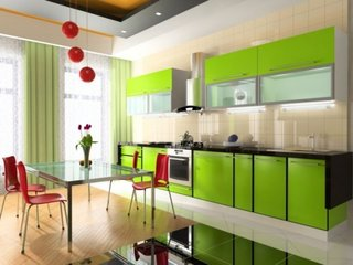 Mobilier verde bucatarie