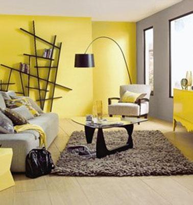 Camera de zi amenajata in galben si gri