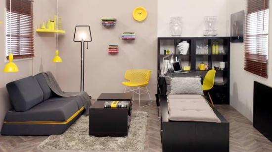Camera de zi decorata cu gri galben si negru