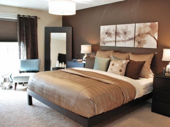 Maro ciocolata culoare pentru decorare camera de dormit