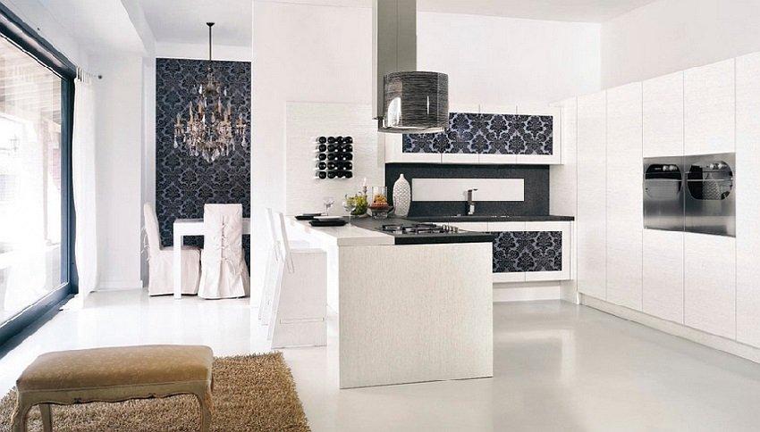 Bucatarie alb cu negru in stil minimalist