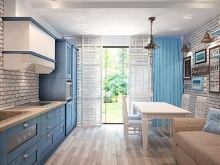 Bucatarie cu mobila albastra din lemn masiv