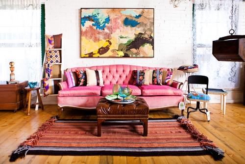 Culori pentru canapele canapea roz pentru living modern