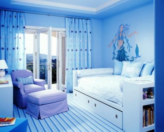 Dormitor pentru fetite albastru cu mov