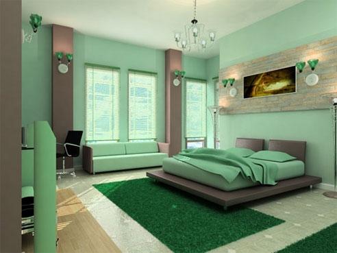 Dormitor verde fistic cu gri deschis