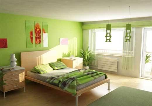 Dormitor zugravit in alb cu verde si mobila simpla din lemn