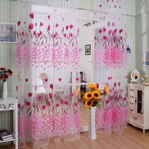 Perdea alba din voal transparent cu flori roz