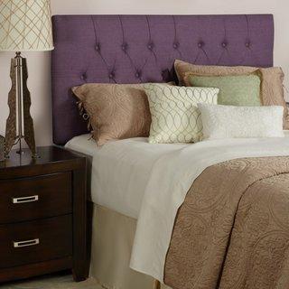 Combinatie de pat cu tablie mov pruna si noptiere maro inchis