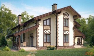 Casa cu tencuiala decorativa si colturi din piatra