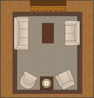 Varianta A de aranjare a mobilei intr-o sufragerie patrata