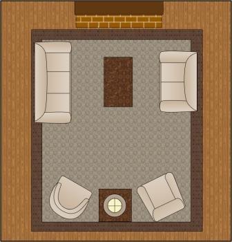 Varianta de aranjare a mobilei intr-o sufragerie patrata