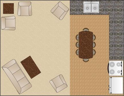 Varianta C de aranjare a mobilei in sufragerie pe diagonala