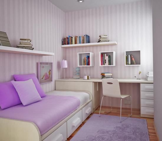 Dormitor de copil alb cu lila