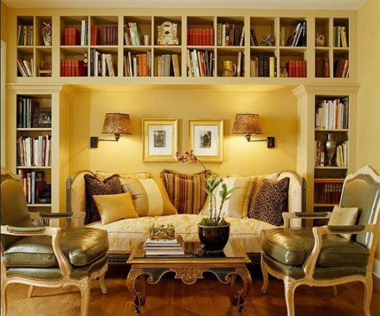 Living mic decorat traditional cu biblioteca si scaune clasice din piele